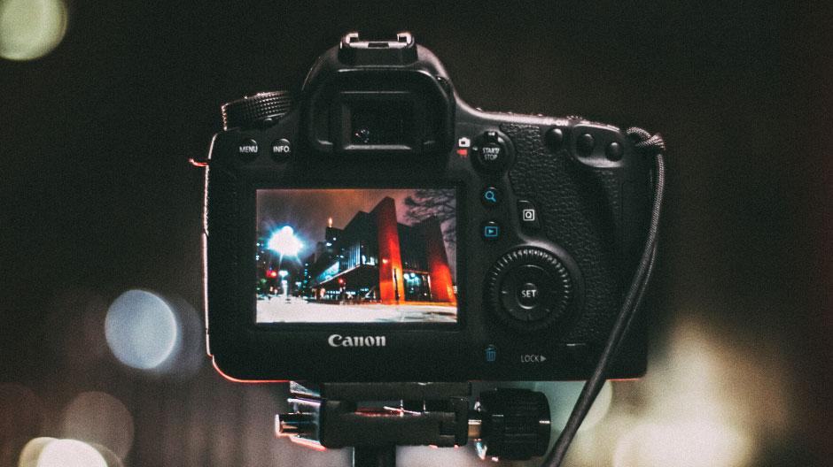 Back of Canon camera on tripod