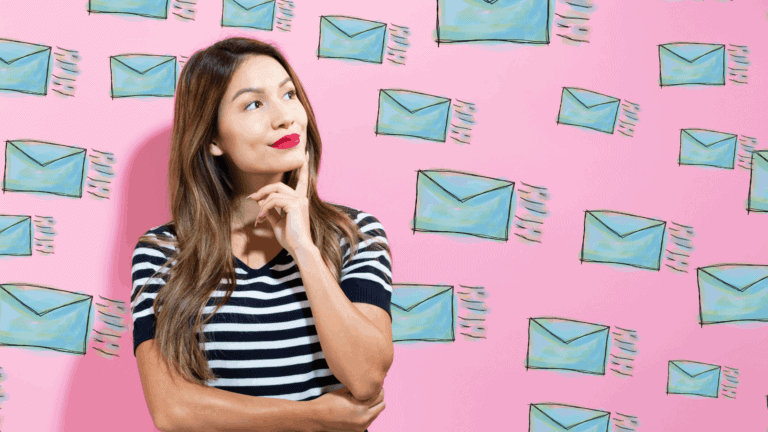 Pensive Woman Against Background with Email Envelopes